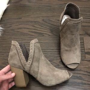 Fergalicious brown suede booties